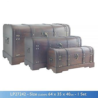 SET OF 3 VINTAGE CONNOISSEUR SUITCASES TRUNK CHEST DARK BROWN