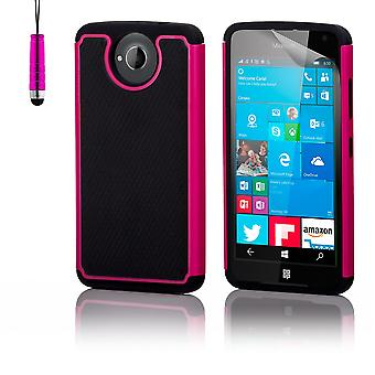 Shock proof case + stylus for Microsoft Lumia 650 - Hot Pink