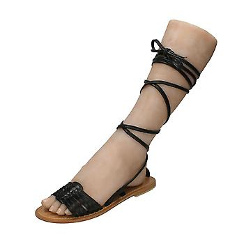 Womens Leather Collection Flat Gladiator Lace Up Leg Mule