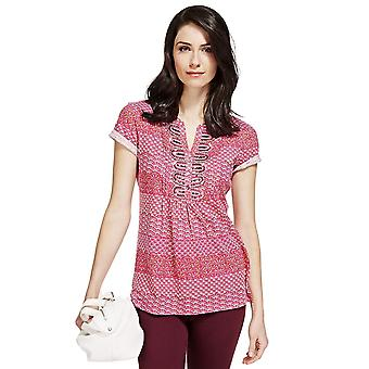 Ex Marks & Spencer Pure Cotton Embellished Print Top