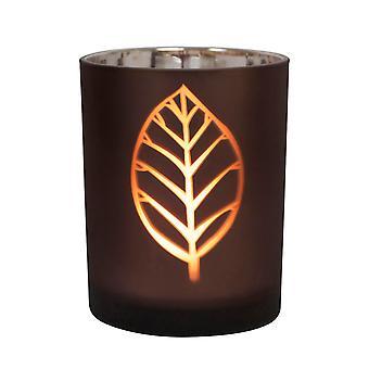 Tabelle Tech Blatt Design 12,5 cm Glas Kerzenständer, braun, Silber