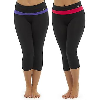 2Pk Ladies Tom Franks Two Tone Sport Gym 3/4 Pants Fashion Sportswear