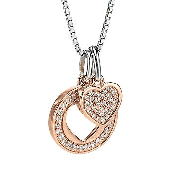925 Silver Rose Gold Plated And Zirconium Necklace