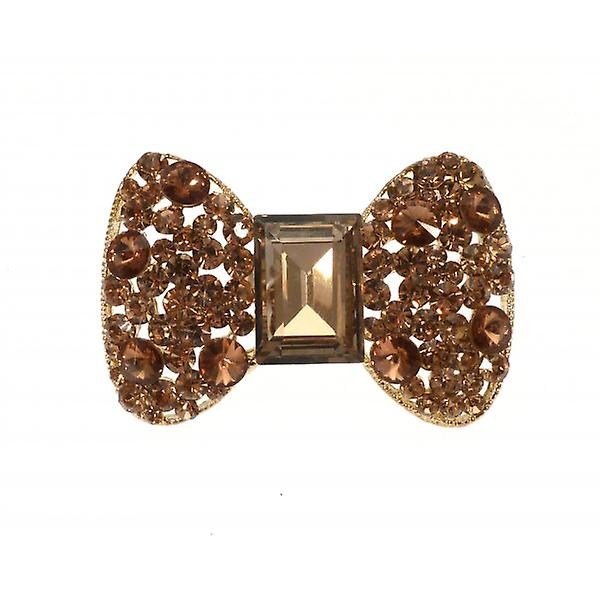 W.A.T Large Gold Style Sparkling Crystal Bow Ring