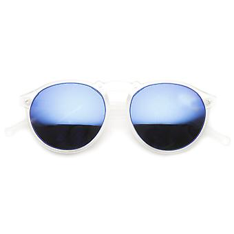 Frosted Color Mirror Lens Retro P3 Frame Round Horn Rimmed Sunglasses