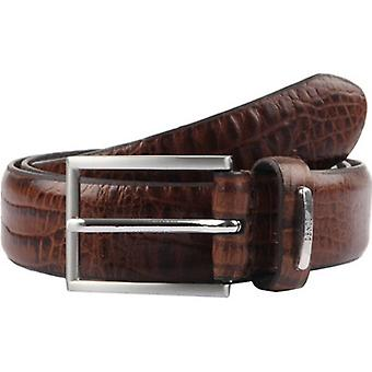 Dents Crocodile Print Leather Belt - Brown
