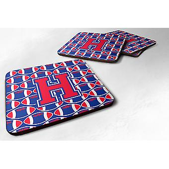 Набор 4 буква H футбол Harvard Crimson и Йельский синий пены подставки набор из 4