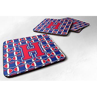 Set of 4 Letter H Football Harvard Crimson and Yale Blue Foam Coasters Set of 4