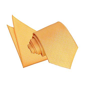 Marigold Greek Key Tie & Pocket Square Set
