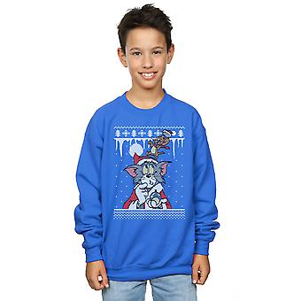 Tom And Jerry Boys Christmas Fair Isle Sweatshirt