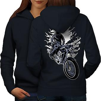 Bike Moto Night Biker Women NavyHoodie Back | Wellcoda
