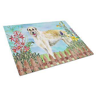 Carolines Treasures  CK1232LCB Irish Wolfhound Spring Glass Cutting Board Large