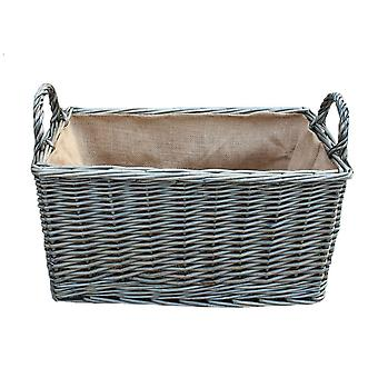 Small Antique Wash Rectangular Hessian Lined Wicker Basket