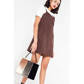 Side Party Check Buckle Pinafore Dress