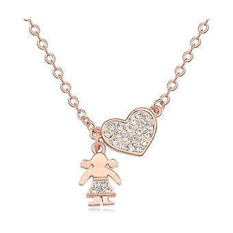 Womens Rose Gold Heart Pendant Necklace
