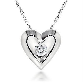 White Gold 1/5ct Diamond Solitaire Heart Shaped Pendant