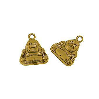 Packet 10 x Antique Gold Tibetan 20mm Buddha Charm/Pendant ZX07985