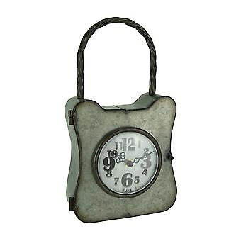 Galvanized Rust Finish Metal Lock Table or Wall Clock