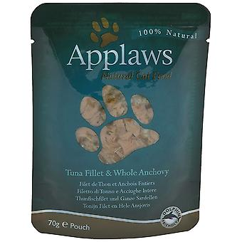 Applaws Cat Food Pouch Tuna Fillet & Whole Anchovy 12 x 70g 840g
