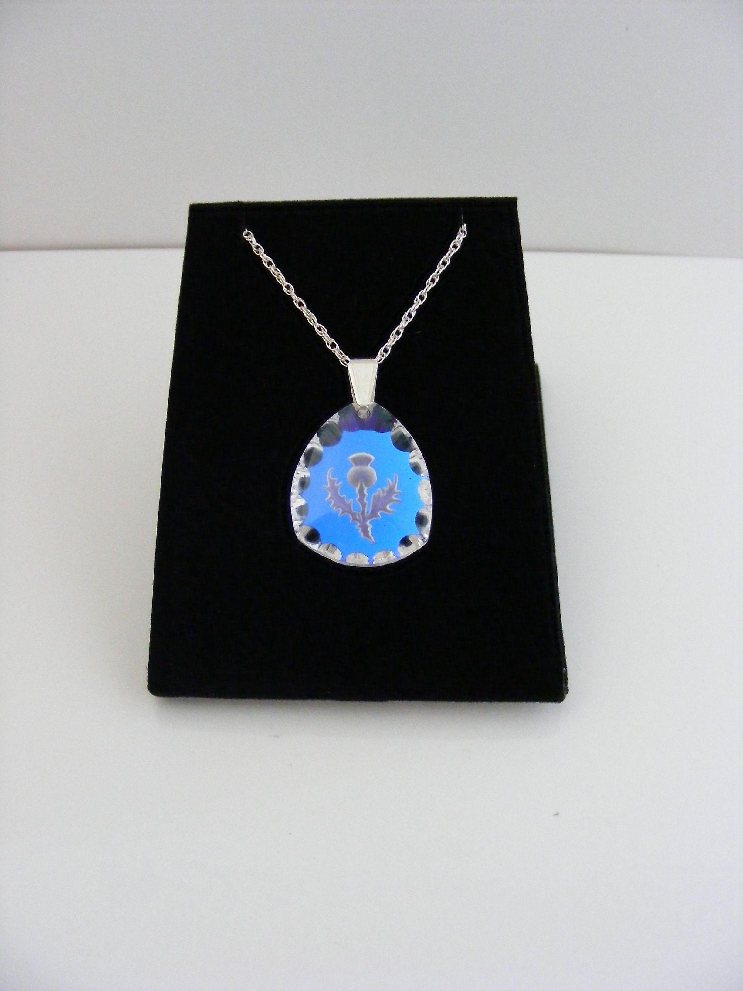 Ice Blue Triangular Thistle Crystal Pendant