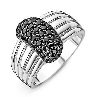 Orphelia Silver 925 Ring Large Black  Zirconium   ZR-3757