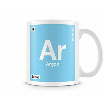 Element Symbol 018 Ar - Argon Printed Mug