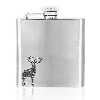 Stag Pewter Badge Stainless Steel Flask Set - 6oz