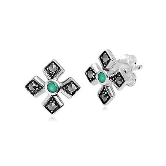 Gemondo Sterling Silver Marcasite & Emerald May Birthstone Earrings