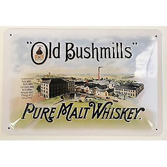 Old Bushmills Pure Malt Whiskey Embossed Steel Sign