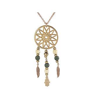 Gemshine - collana - acchiappasogni - oro placcato - primavera - Fatima - Hamsa - 75 cm
