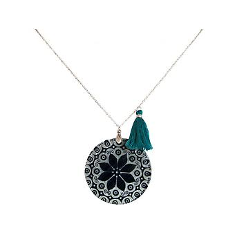 Damen - Halskette - Anhänger - Medaillon - Perlmutt - MANDALA - 925 Silber - Schwarz Weiss - 5 cm