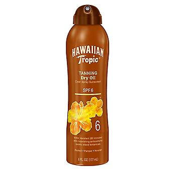 Hawaiian tropic tanning dry oil clear spray sunscreen, spf 6, 6 oz