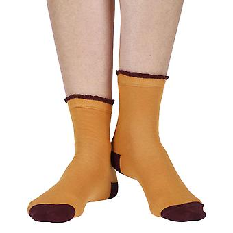 Frilly women's luxury cotton ankle sock in mustard | By Corgi