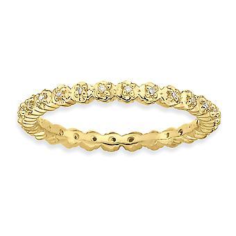 Argent sterling poli à alvéoles définir Patterned Stackable Expressions Diamond Gold-Flashed Ring - anneau taille: 5 à 10