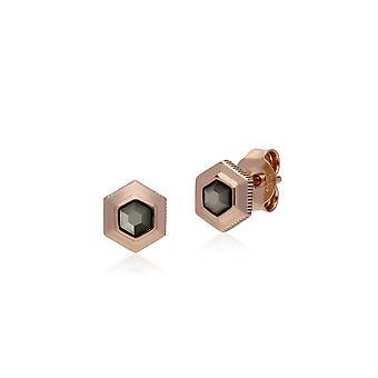 Gemondo Rose oro Pendientes plata hexagonal Marcasita