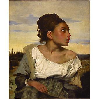 Órfã menina no cemitério, Eugene Delacroix, 66x54cm 03