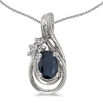 14k White Gold Oval Sapphire And Diamond Teardrop Pendant with 18