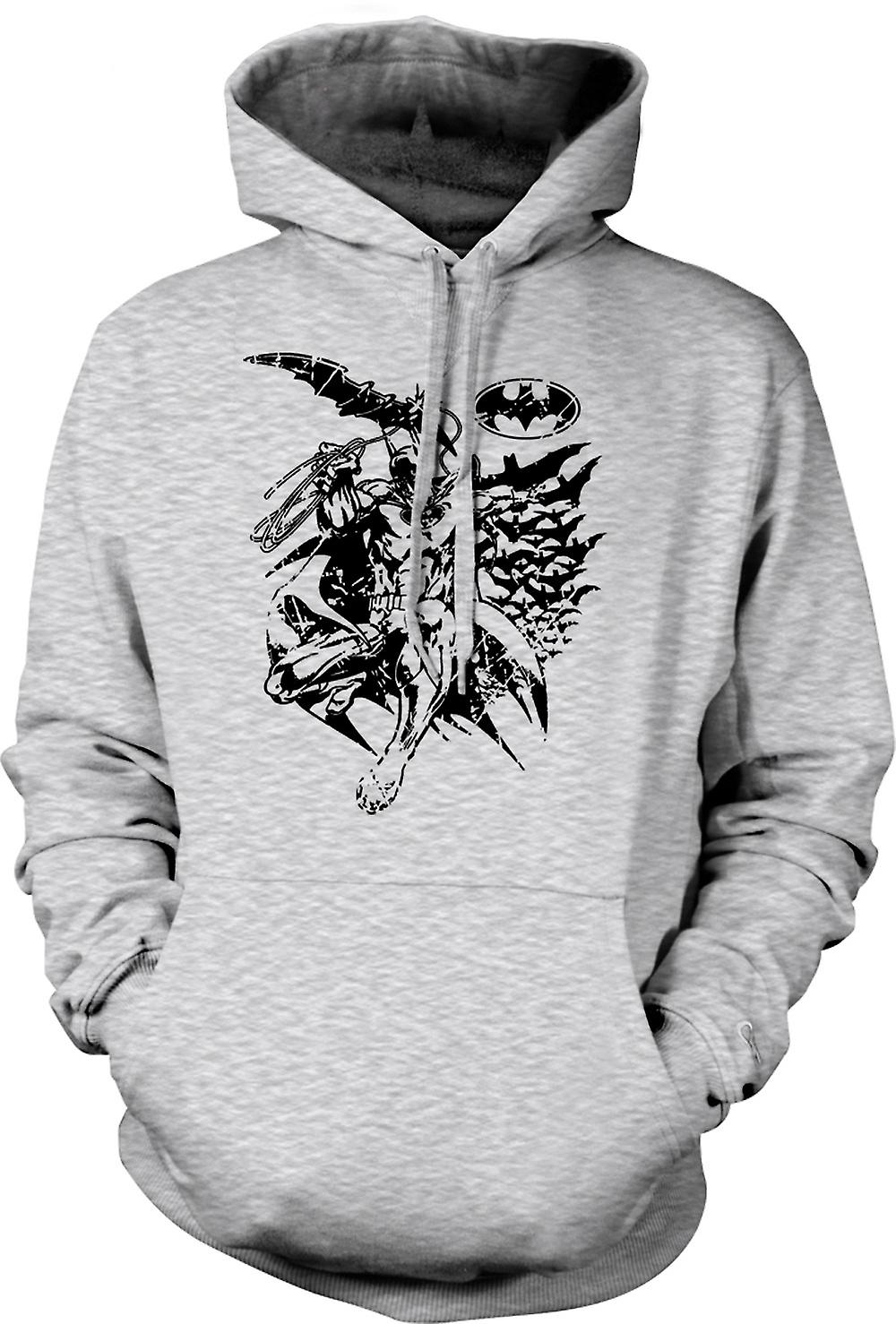 Mens Hoodie - Batman Bats Caped - Crusader - BW