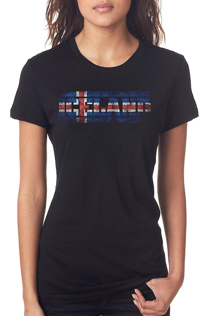 Iceland Icelandic Flag - Words Ladies T Shirt