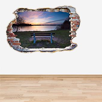 Полный цвет озера скамейке закат разбитые стены 3D эффект стикер стены