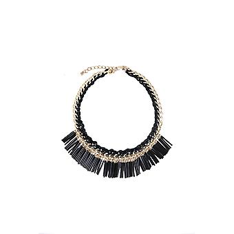 LMS Statement Gold Necklace With Black Beads And Tassels