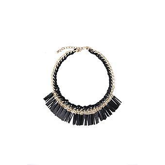 Déclaration de LMS collier en or avec perles noires et de glands