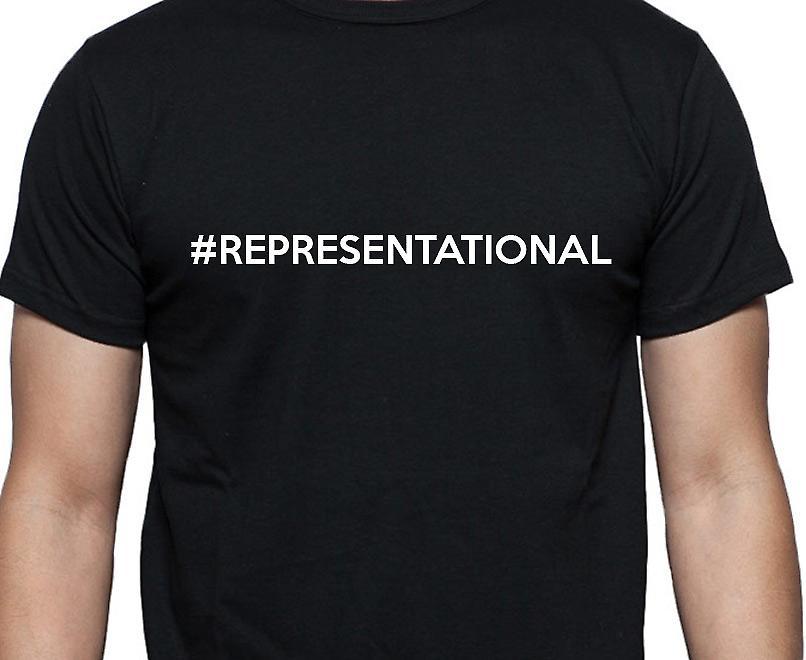 #Representational Hashag Representational Black Hand Printed T shirt