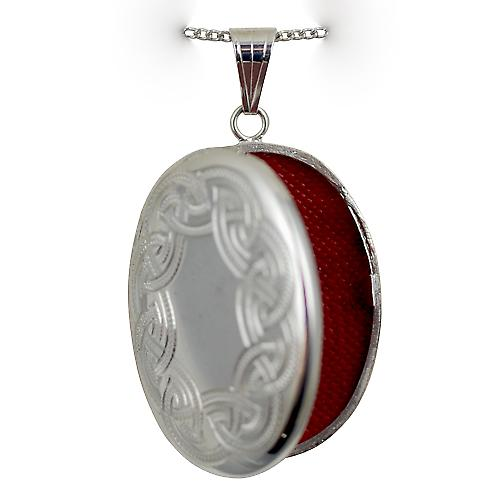 Silver 35x26mm engraved Celtic design oval Locket with Curb chain