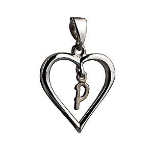 sterling Silver heart with a hanging Initial P