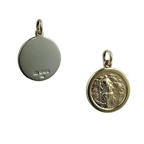 14ct Yellow gold on Silver 20mm round St Christopher
