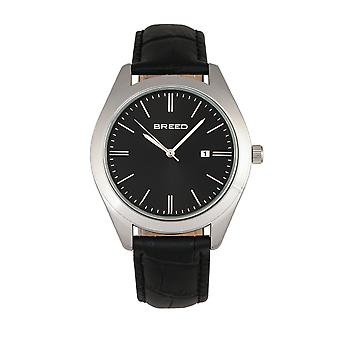 Breed Louis Leather-Band Watch w/Date - Silver/Black