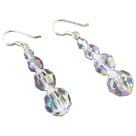 Beautiful Partywear Fashion AB Swarovski Crystals Earrings