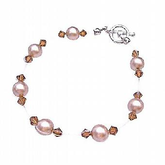 Champagne Pearls Wedding Jewelry Inexpensive Swarovski Brown Crystals
