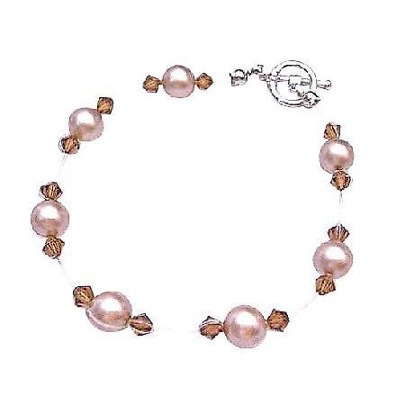 Champagne Pearls Wedding Jewelry Inexpensive Swarovski Brown Crystals